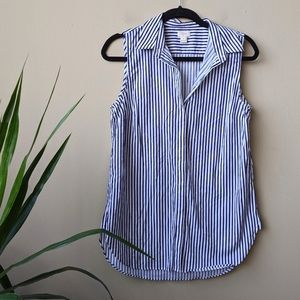 J. Crew Striped Sleeveless Button Down Shirt sz 8